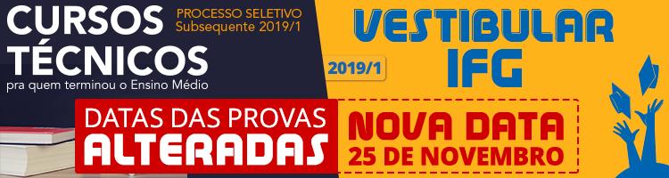 nova data prova: vestibular e subsequente 2019.1