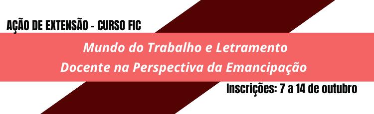Banner FIC Mundo do Trabalho Letramento