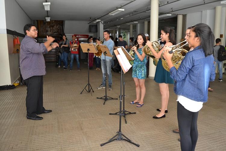 Um dos representantes da prática de Música de Câmara é o Grupo de Trompas, formado por alunos do Câmpus Goiânia