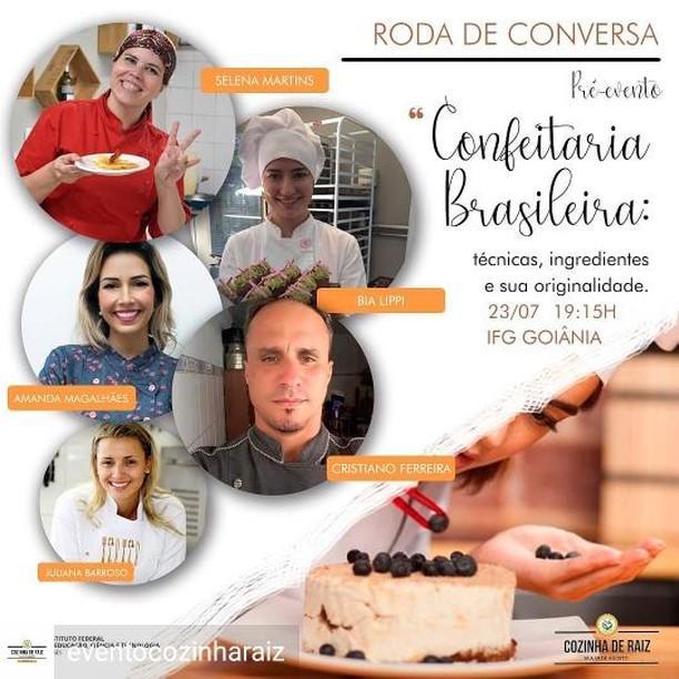 Cartaz sobre o evento Roda de Conversa: Confeitaria Brasileira, no IFG - Câmpus Goiânia.